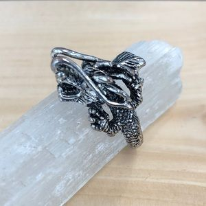 Silver Plated Dragon Ring Sz 8.5